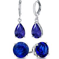 Vintage Blue Sapphire White Cz 925 Sterling Silver Gemstone Dangle Drop Earrings