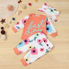 Toddler Baby Girls Tops T-Shirt+ Long Pants Headband Outfits Clothes Set