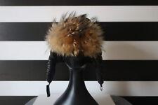 Black Aviator Pilot Winter Hat Racoon Fur Cap