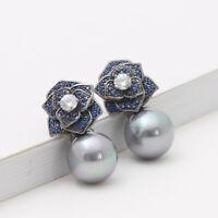 Boucles d'oreilles Noir Clous Fleur Rose Pavé CZ Bleu Perle Gris Retro G4 15