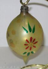 Vintage Estate Poland Blown Glass Handpainted Teardrop Christmas Tree Ornament