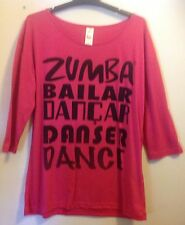 Zumba SALE.  Dance Long Sleeve Tee.  Fuchsia.  M