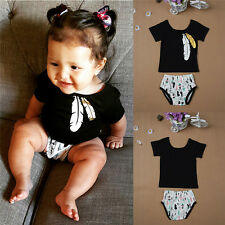 2pcs Baby Boys Girl Kids Clothes Feather Print Romper Jumpsuit Playsuit Outfit