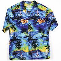 NEW Izod Mens Hawaiian Camp Shirt Size 3XL Aloha Blue White Floral Hibiscus NWT