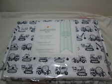NEW Authentic Kids Construction Vehicles Twin Sheet Set ~ Black and White NIP
