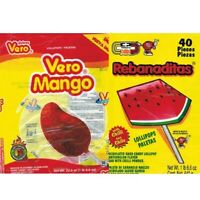 Mexican Candy Vero Mango And Rebanaditas Paletas Chili Lollipops 80 pieces