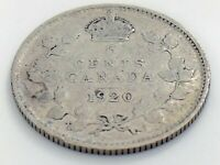 1920 Canada Five 5 Cent Small Silver Circulated Canadian George V Coin J562
