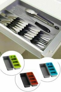 Cutlery Utensil Drawer Organizer Spoon Divider Kitchen Tidy Tray ASSORTED COLORS