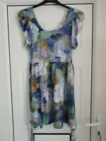 Fab Oasis Blue Multi Floral Fit and Flare Dress, Short Sleeves, Size S, VGC