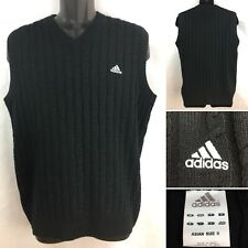 Mens Black Adidas Spellout Logo Sweater Vest Golf V-Neck Small ~ FREE SHIPPING!!