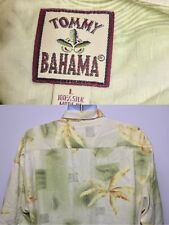 Tommy Bahama L Large Shirt Hawaiian Silk Button Down Front Yellow Green Floral