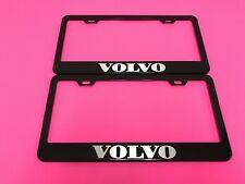 2x VOLVO BLACK Powder Coated Metal License Plate Frame Tag Holder w/Screw caps*
