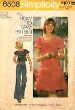 Vintage 1970s Simplicity Sewing Pattern Girl's Junior DRESS & TOP 6508 Sz 7/8 UC