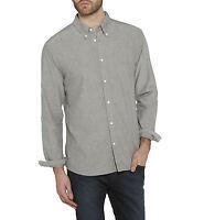 Wrangler Mens Cotton Oxford Shirt Regular Fit Long Sleeve Button Down Black Grey