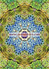 Green and Blue Mandala card, birthday, greetings hippy boho blank card UK