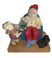 """Relaxing Santa Figurine Chair Bear Serving Cookies Mouse In Lap 4.5"""" Christmas"""