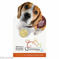2008 Australia Centenary of Quarantine, $1 UNC Coin RAM, Beagle
