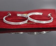 Cartier 18K White Gold 1.80ct Insideout Round Diamond 34mm Hoop Earrings