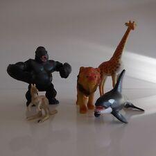 5 figurines animaux sauvages lion girafe orgue gorille kangourou