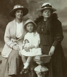 Antique family portrait girl doll real photo RPPC postcard social history #19
