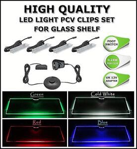 GLASS SHELF LED LIGHT PCV CLIP SET  RGB BLUE WHITE GREEN RED