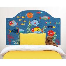 FISH TALES Twin HEADBOARD 1 MURAL wall sticker coral bubbles decal bedroom decor