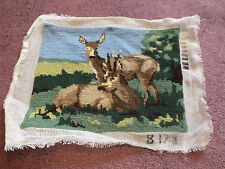 Needlepoint Sampler Complete Ready to Frame Doe Buck 10x 7 7/8 Area Estate Find