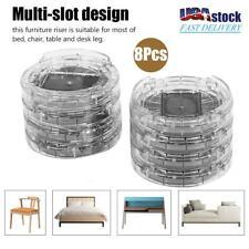 8Pcs Round Plastic Furniture Leg Risers Non-slip Riser for Table Desk Bed Sofa