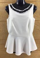Bisou Bisou Women's Peplum Top Blouse Small Ivory Black Beads Dressy Sleeveless