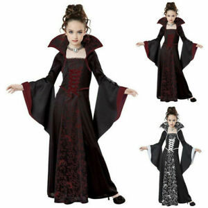 4-12 Years Kids Lace up Long Dress Halloween Cosplay Costume Medieval European