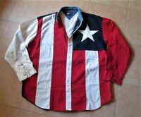 Vintage  TOMMY HILFIGER Shirt S Red White & Blue FLAG Texas Star Color Block