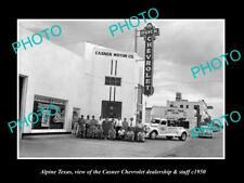 OLD 6 X 4 HISTORIC PHOTO OF ALPINE TEXAS THE CHEVROLET CAR DEALERSHIP c1950