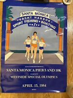 "SANTA Monica Pier 5 And 10 K Special Olympics Poster 1984- 18"" X  25"""