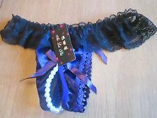 Pearl black & purple crotch-less thong size 10/12