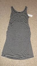 Liz Lange Maternity Black & Gray Striped Knit Spring Summer Dress Size Small