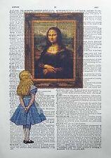 Alicia en el país de las maravillas vs Leonardo da Vinci-la mona lisa-Diccionario Art Print