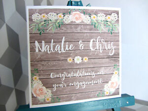 PERSONALISED Handmade Vintage Shabby Chic Style Floral Engagement Card