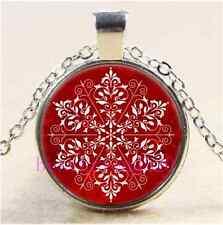 Elegant Snowflake Christmas Cabochon Glass Tibet Silver Chain Pendant Necklace