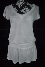 H&M Damen Mädchen Shirt Bluse Oberteil mit schößchensaum XS weiß