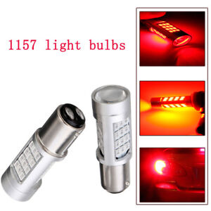 One Pair Auto L & R 1157 LED Red Flash Strobe Alert Brake Tail Stop Light Bulb