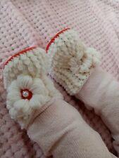 Babyschuhe mädchen weiß-rot 56-62 Blumen