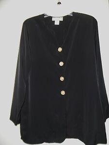 FRITZ & LLOYD Black Long Sleeve Button Down Long Shirt Blouse - SZ 10