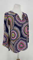 ALICE & TRIXIE $297 Womens Silk Blouse Top Split-V Medallion Print Multi Color S