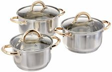 6 Pcs Stainless Steel Cookware Pot Set,1.8 qt, 2.5 qt, 3.4 qt, Silver