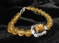 South African Tiger's Eye Bracelet Sterling Silver & Enhanced Yellow Agate Beads