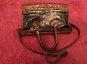 Vintage Brahmin Black Leather and Brown Croc Embossed Leather Purse AS IS