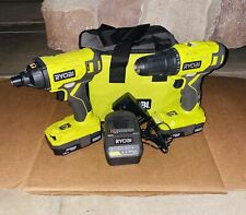 Ryobi 18-Volt ONE+ Drill/Driver, Impact Driver, 2x Batteries, Charger & Bag New