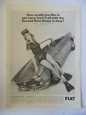 1966 Print Ad Fiat 1500 Spider Sports Car Coupe ~ Second Best Shape Italy Diver