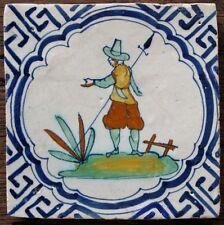 A very rare polychrome Dutch Delft delftware tile, carreau, Wing-li, c. 1640