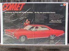 VINTAGE 1966 MERCURY COMET CYCLONE GT HOOD SCOOPS AUTO CAR AD PRINT Z124